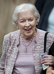 © Licensed to London News Pictures. 27/09/2016.  June Whitfield leaves Westminster Abbey after attending a Service of Thanksgiving for the Life and Work of Sir Terry Wogan . Veteran broadcaster Sir Terry Wogan died in January 2016. The Irish star had a long and successful career at the BBC, including stints on  radio and TV. London, UK. Photo credit: Peter Macdiarmid/LNP