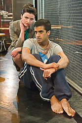 © Licensed to London News Pictures. 27/01/2012. Brolly Productions presents the world premiere of Guantanamo Boy at Stratford Circus. Guantanamo Boy is the stage adaptation of Anna Perera's critically-acclaimed teen novel about a British boy who is kidnapped in the aftermath of 9/11 while on holiday in Pakistan and held in Guantanamo Bay. Picture shows Hamza Jeetooa as Kalid and Ailish Symons as the interrogator.  Photo credit : Tony Nandi/LNP