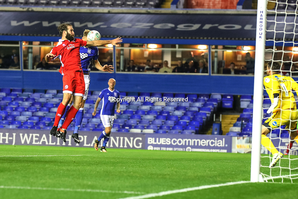 August 8th 2017, St Andrews, Birmingham, England; Carabao Cup First Round; Birmingham City versus Crawley Town; claims of handball as Marc Roberts of Birmingham City FC heads the ball towards the Crawley Town goal