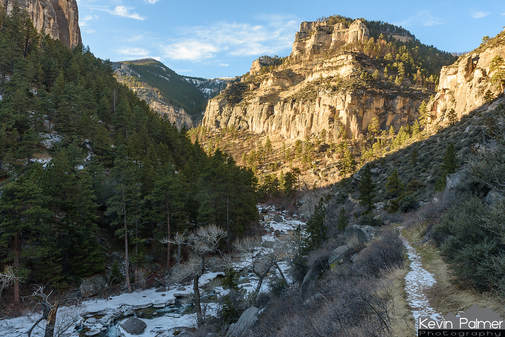 The warm sunlit cliffs of Tongue River Canyon contrasted with the cold river ice. It was a beautiful afternoon for a hike.