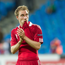 AALBORG, DENMARK - Saturday, June 11, 2011: Denmark's Christian Eriksen (AFC Ajax) looks dejected after his side's 1-0 defeat by Switzerland during the UEFA Under-21 Championship Denmark 2011 Group A match at the Aalborg Stadion. (Photo by Vegard Grott/Propaganda)