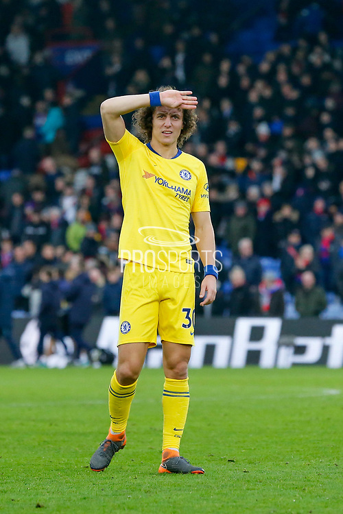 Chelsea defender David Luiz (30) looks to the crowd after the final whistle during the Premier League match between Crystal Palace and Chelsea at Selhurst Park, London, England on 30 December 2018.