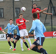 Tayport's Cammy Black heads clear - Tayport v Dundee XI - pre-season friendly at the GA Arena <br /> <br />  - &copy; David Young - www.davidyoungphoto.co.uk - email: davidyoungphoto@gmail.com