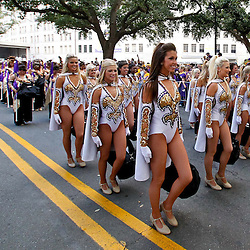 November 13, 2010; Baton Rouge, LA, USA; The LSU Golden Girls dance squad performs outside prior to kickoff of a game between the LSU Tigers and the Louisiana Monroe Warhawks at Tiger Stadium. LSU defeated Louisiana-Monroe 51-0.  Mandatory Credit: Derick E. Hingle