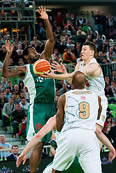 Vlado Ilievski of Union Olimpija vs Christopher Booker of Krka during second semi-final match of Basketball NLB League at Final four tournament between KK Union Olimpija and Krka (SLO), on April 19, 2011 at SRC Stozice, Ljubljana, Slovenia. (Photo By Matic Klansek Velej / Sportida.com)