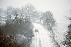 © Licensed to London News Pictures. 30/11/2017. Pickering UK. Drivers tackle a very steep hill in heavy snow this morning just outside the town of Pickering in the North Yorkshire Moors.Photo credit: Andrew McCaren/LNP