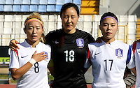 Fifa Womans World Cup Canada 2015 - Preview //<br /> Cyprus Cup 2015 Tournament ( Gsz Stadium Larnaca  - Cyprus ) - <br /> Canada vs South Korea 1-0  // Team Group of South Korea , from the left up :<br /> CHO Sohyun ,KIM Jungmi and SHIN Damyeong