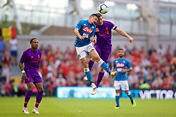 DUBLIN, REPUBLIC OF IRELAND - Saturday, August 4, 2018: Liverpool's James Milner clashes heads with Napoli's Mário Rui during the preseason friendly match between SSC Napoli and Liverpool FC at Landsdowne Road. (Pic by David Rawcliffe/Propaganda)
