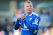 Chesterfield defender Alex Whitmore (33)   claps the fans after the EFL Sky Bet League 2 match between Chesterfield and Notts County at the Proact stadium, Chesterfield, England on 25 March 2018. Picture by Nigel Cole.