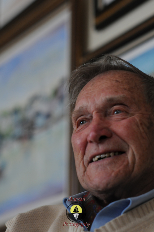 Frank Lundblad, WWII Veteran, Pancreatic Cancer Survivor, Sailor, Hospice Founder, sailor, painter successful businessman and generally outstanding human being reflects on his life in his Brunswick living room.  Photo by Roger S. Duncan