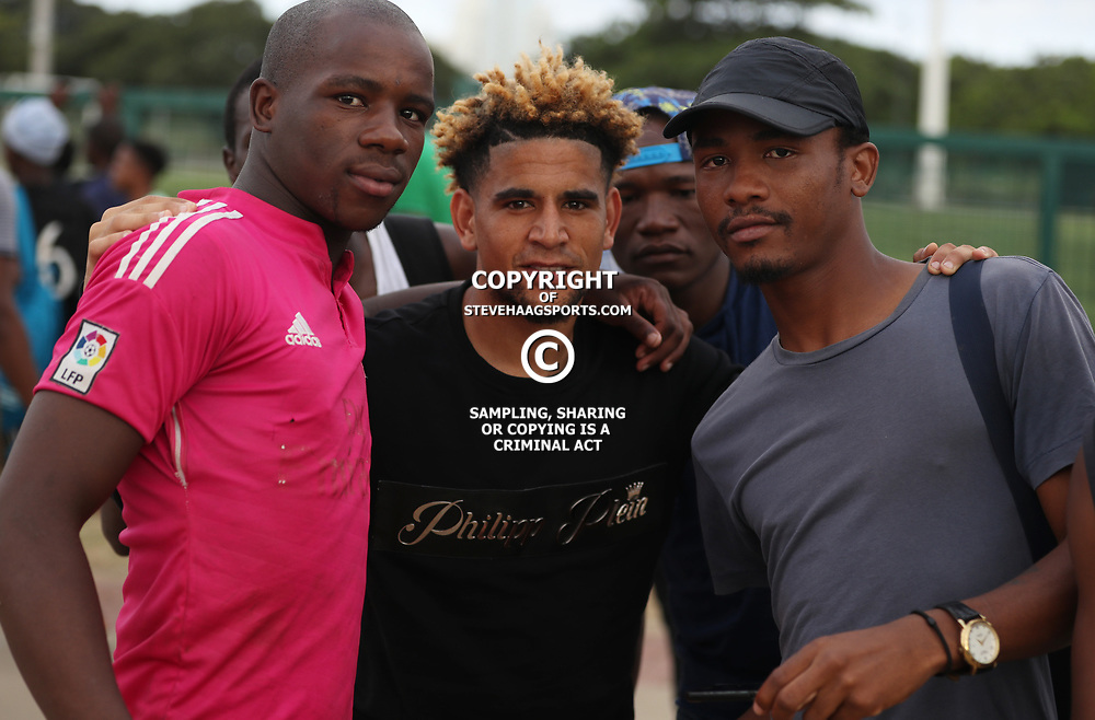 Keagan Dolly of (Bafana Bafana) South Africa with fans during the Bafana Bafana Training at People's Park, Moses Mabhida Stadium in Durban,21st March 2017 (Steve Haag)