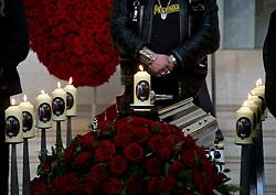 01.04.2011, Zentralfriedhof, Wien, AUT, Chronik, Begraebnis Kurt Hauenstein alias Supermax, im Bild Sarg in Aufbahrungshalle, EXPA Pictures © 2011, PhotoCredit: EXPA/ S. Trimmel