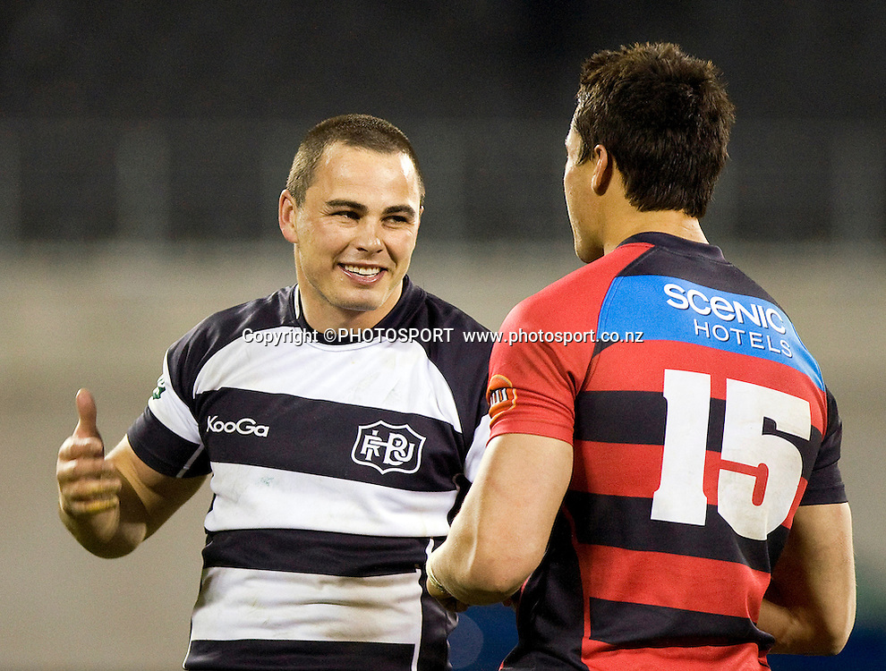 Hawkes Bay player Zac Guildford shares a laugh with Crusaders team mate Sean Maitland. ITM Cup. Canterbury v Wellington at AMI Stadium, Christchurch. Friday 30 July 2010. Photo: Joseph Johnson/PHOTOSPORT