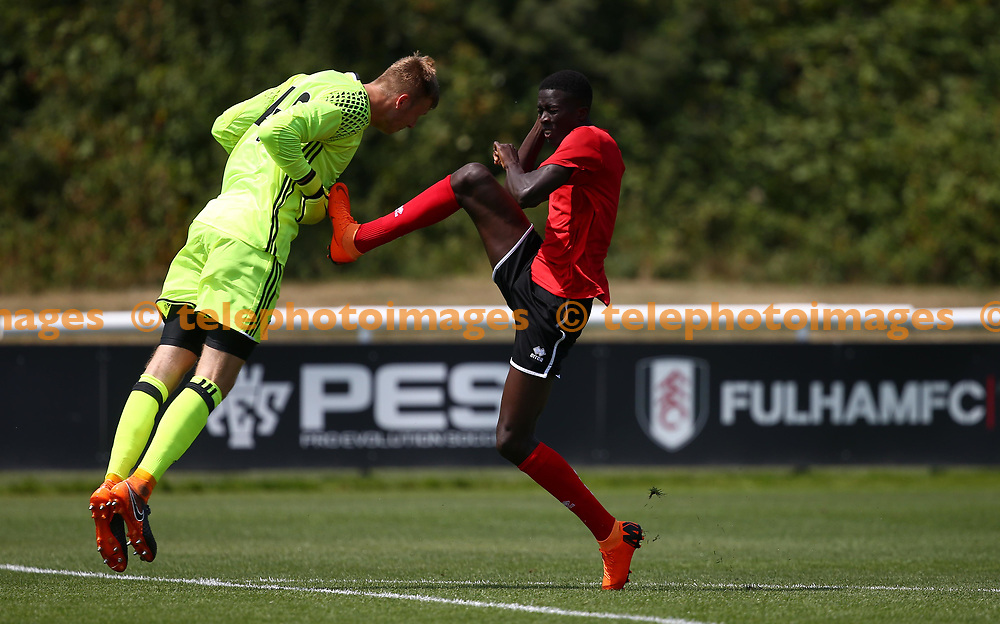 Crawley's Panutche Camara during the pre season friendly between Fulham and Crawley Town at Motspur Park Training Ground, London, UK. 07 July 2018.