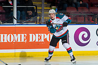 KELOWNA, CANADA - JANUARY 30: Lassi Thomson #2 of the Kelowna Rockets passes the puck against the Seattle Thunderbirds on January 30, 2019 at Prospera Place in Kelowna, British Columbia, Canada.  (Photo by Marissa Baecker/Shoot the Breeze)