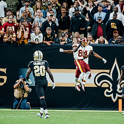 Nov 19, 2017; New Orleans, LA, USA; Washington Redskins wide receiver Jamison Crowder (80) celebrates with wide receiver Ryan Grant (14) after a touchdown against the New Orleans Saints during the second half of a game at the Mercedes-Benz Superdome. The Saints defeated the Redskins 34-31 in overtime. Mandatory Credit: Derick E. Hingle-USA TODAY Sports