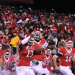 Nov 12, 2009; Piscataway, NJ, USA; Rutgers take the field for first half NCAA Big East football action between Rutgers and South Florida at  Rutgers Stadium.