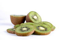 Studio shot of sliced kiwi