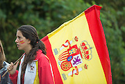 Hamburg. GERMANY.    Flag carrying Spanish Supporter.  Saturday Morning, Semi Finals A/B  at the 2014 FISA Junior World rowing. Championships.  09:38:40  Saturday  09/08/2014  [Mandatory Credit; Peter Spurrier/Intersport-images]