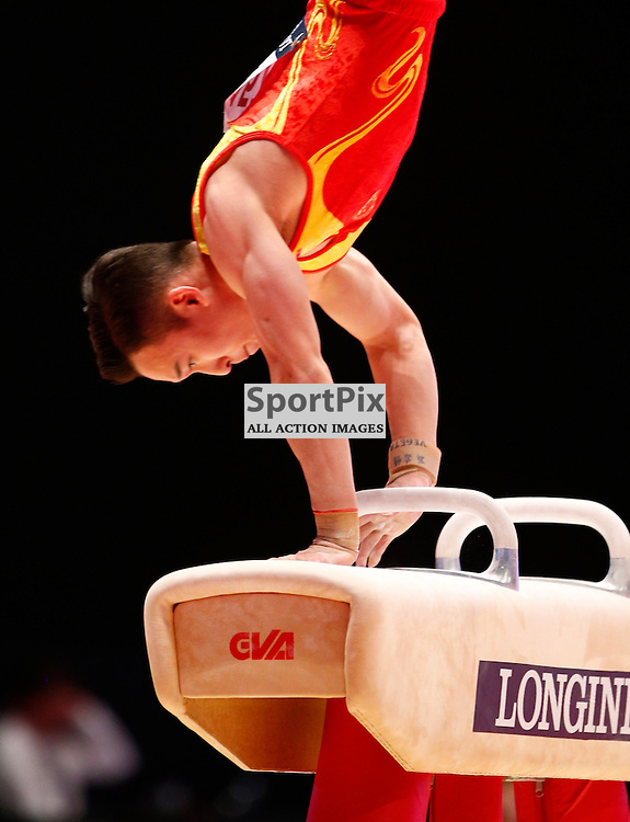 2015 Artistic Gymnastics World Championships being held in Glasgow from 23rd October to 1st November 2015.....Ruoteng Xiao (Peoples Republic of China) competing in the Pommel Horse competition..(c) STEPHEN LAWSON | SportPix.org.uk