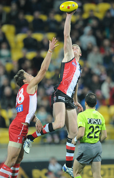Saints' Ben McEvoy leaps above Swans' Mike Pyke in the AFL Australian Rules match at Westpac Stadium, Wellington, New Zealand, Thursday, April 25, 2013. Credit:SNPA / Ross Setford