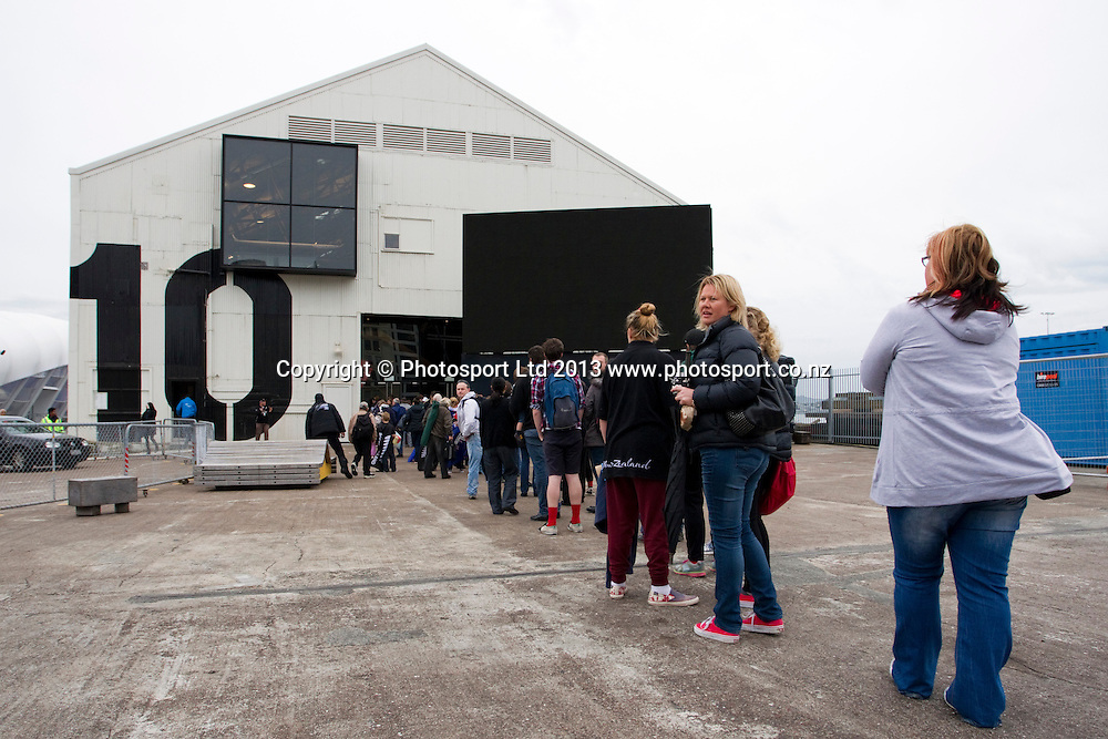 Fans arrive at Shed 10, watch the America's Cup racing between Team New Zealand and Oracle in San Francisco, USA, Tuesday, September 24, 2013. Photo: David Rowland/Photosport