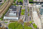 Nederland, Noord-Holland, Amsterdam, 09-04-2014; Prins Bernhardplein met aan de Wibautstraat het Renaultgebouw : hoofdkantoor FD Mediagroep (BNR Nieuwsradio en Financieele Dagblad) en restaurant le Dauphine. <br /> Prins Bernhardplein (Prins Bernhard square) with office financial press.<br /> luchtfoto (toeslag op standard tarieven);<br /> aerial photo (additional fee required);<br /> copyright foto/photo Siebe Swart