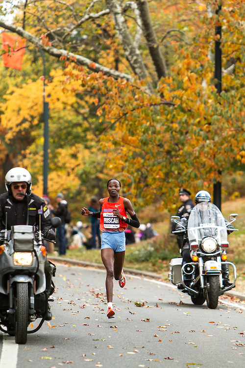 ING New York CIty Marathon: Priscah Jeptoo leads in Central Park with one mile to go