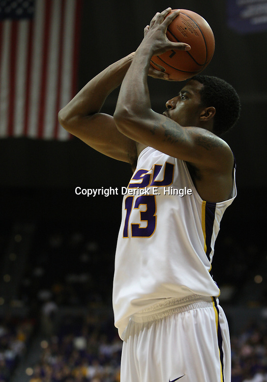 14 February 2009: LSU guard Terry Martin (13) shoots during 73-66 win by the LSU Tigers against SEC rival the Ole Miss Rebels at the Pete Maravich Assembly Center in Baton Rouge, LA.