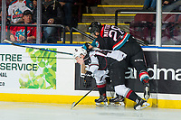 KELOWNA, CANADA - OCTOBER 3: Bowen Byram #44 of the Vancouver Giants is checked by Leif Mattson #28 of the Kelowna Rockets on October 3, 2018 at Prospera Place in Kelowna, British Columbia, Canada.  (Photo by Marissa Baecker/Shoot the Breeze)  *** Local Caption ***