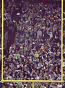 The crowd waves white towels as they cheer for the team while framed by the end zone goal post and uprights during the Seattle Seahawks NFL week 19 NFC Divisional Playoff football game against the Carolina Panthers on Saturday, Jan. 10, 2015 in Seattle. The Seahawks won the game 31-17. ©Paul Anthony Spinelli