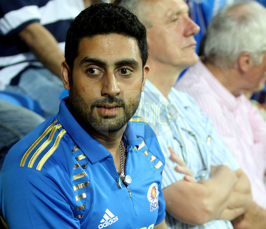 Abhishek Bachchan during match 13 of the the Indian Premier League ( IPL ) Season 4 between the Mumbai Indians and the Kochi Tuskers Kerala held at the Wankhede Stadium, Mumbai, India on the 15th April 2011..Photo by Sandeep ShettyBCCI/SPORTZPICS.