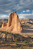 Sandstone Monoliths of the Upper Cathedral Valley in evening light, Capitol Reef National Park Utah
