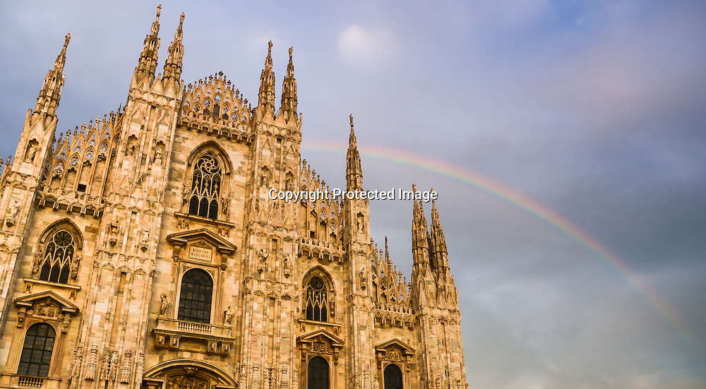 Milan's Duomo with a rainbow