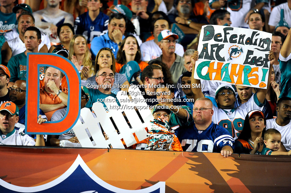 21 September 2009: Miami Dolphins fans during the game against the Indianapolis Colts at Land Shark Stadium in Miami, Florida.