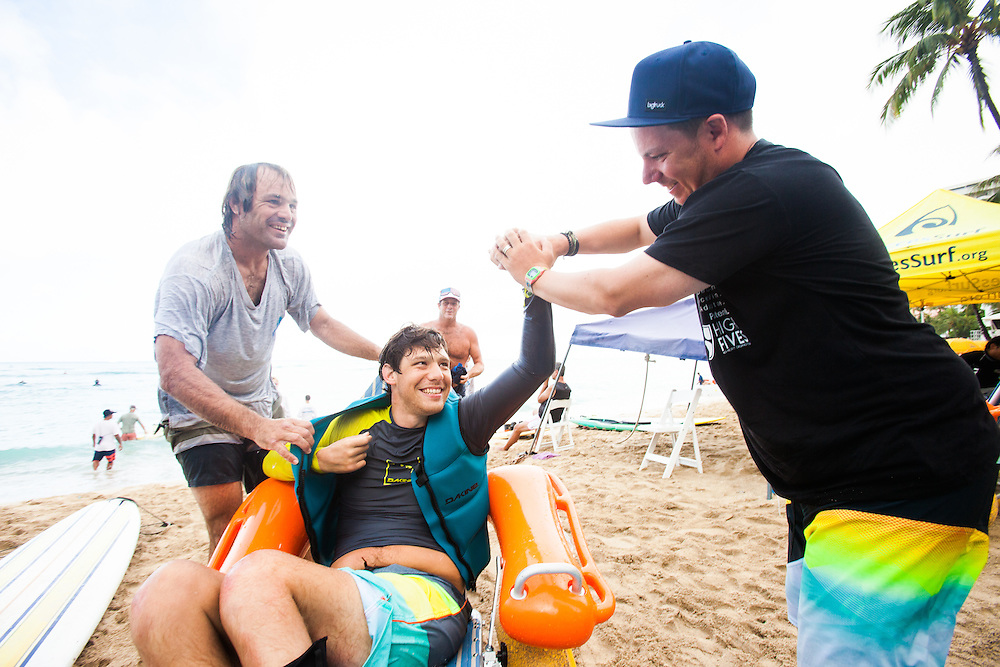 Adaptive athletes on an adaptive surf trip to Hawaii with the High Fives Foundation. giving back, Clarkbourne Creative, Trevor Clark Photography, Laurel Winterbourne, www.clarkbourne.com