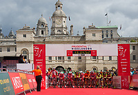 A view of the start-line for the Prudential RideLondon-Surrey Classic in Horse Guards Parade 30/07/2017<br /> <br /> Photo: Jon Buckle/Silverhub for Prudential RideLondon<br /> <br /> Prudential RideLondon is the world's greatest festival of cycling, involving 100,000+ cyclists – from Olympic champions to a free family fun ride - riding in events over closed roads in London and Surrey over the weekend of 28th to 30th July 2017. <br /> <br /> See www.PrudentialRideLondon.co.uk for more.<br /> <br /> For further information: media@londonmarathonevents.co.uk