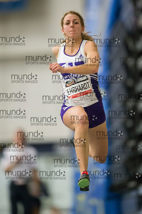Windsor, Ontario ---2015-03-14--- Caroline Ehrhardt of Western University competes in the triple jump at the 2015 CIS Track and Field Championships in Windsor, Ontario, March 14, 2015.<br /> GEOFF ROBINS/ Mundo Sport Images