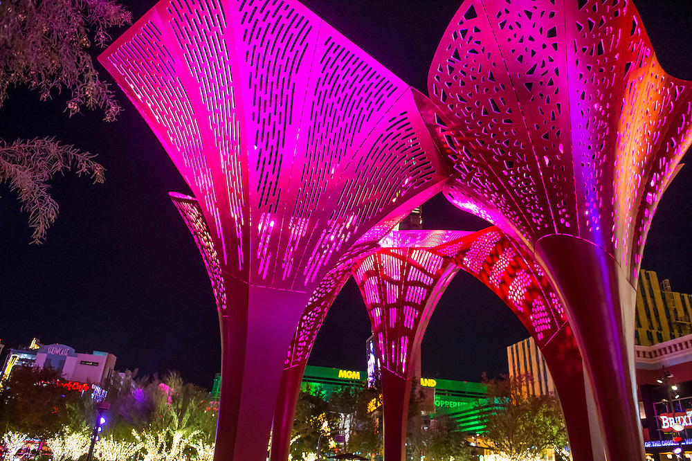 LAS VEGAS - NOV 24 : The Park in Las Vegas on November 24 2016. The Park is outdoor dining and entertainment district area that connects the T-Mobile Arena to the Las Vegas Strip
