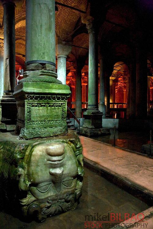 The second Medusa head pillar. The Basilica Cistern. Istanbul, Turkey (2)