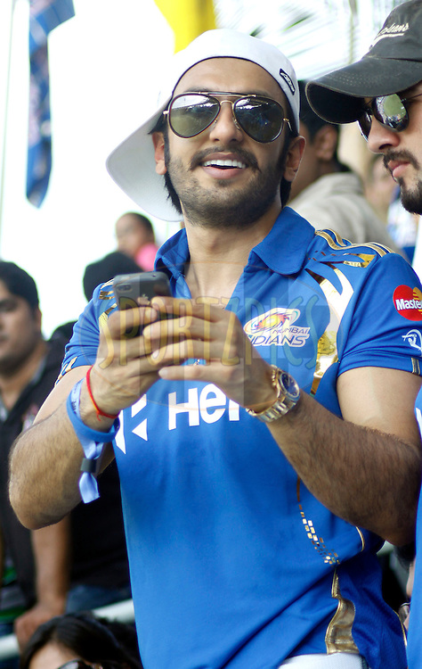 Actor Ranveer Singh during match 49 of the the Indian Premier League ( IPL) 2012  between The Mumbai Indians and the Chennai Superkings held at the Wankhede Stadium in Mumbai on the 6th May 2012..Photo by Sandeep Shetty/IPL/SPORTZPICS.