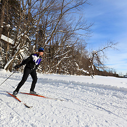 A woman cross-country skiing at the Notchview Reservation in Windsor, Massachusetts. The Trustees of Reservations.