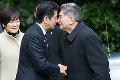 Auckland-Japan Prime Minister Shinzo Abe welcomed