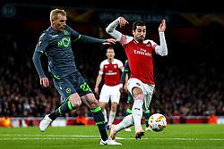 Henrikh Mkhitaryan of Arsenal takes on Jeremy Mathieu of Sporting Lisbon - Mandatory by-line: Robbie Stephenson/JMP - 08/11/2018 - FOOTBALL - Emirates Stadium - London, England - Arsenal v Sporting Lisbon - UEFA Europa League