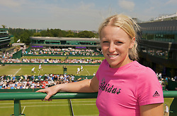 LONDON, ENGLAND - Thursday, June 25, 2009: Patricia Mayr (AUT) pictured overlooking the outside courts on top of the media centre at Wimbledon during day four of the Wimbledon Lawn Tennis Championships at the All England Lawn Tennis and Croquet Club. (Pic by David Rawcliffe/Propaganda)