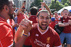 May 26, 2018 - Kiev, Ukraine - Liverpool fans gather in Maidan Square, Kiev, Ukraine,  prior to the UEFA Champions League Final between Real Madrid and Liverpool at NSC Olimpiyskiy Stadium on May 26, 2018 in Kiev, Ukraine. (Credit Image: © Maxym Marusenko/NurPhoto via ZUMA Press)