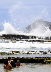 June 20, 2017 - Puerto Cabello, Carabobo, Venezuela - Bathers, take advantage of bathing in the beach of Ga–ango, ignoring the measures of prevention before the announcement of the arrival of the storm Bret, in the beach of Ga–ango, in Puerto Cabello, Carabobo state. Photo: Juan Carlos Hernandez (Credit Image: © Juan Carlos Hernandez via ZUMA Wire)