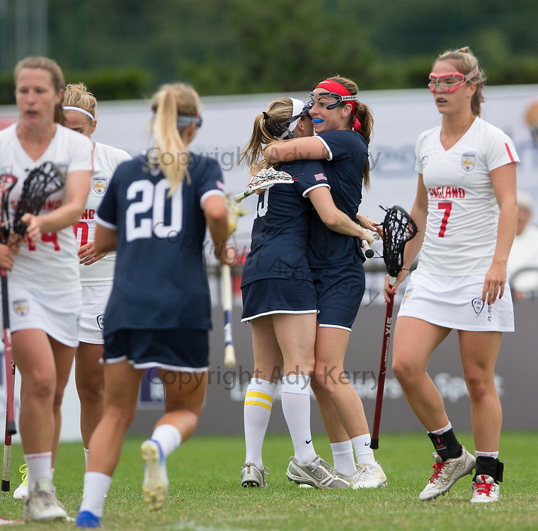 USA celebrate a goal against England at the 2017 FIL Rathbones Women's Lacrosse World Cup, at Surrey Sports Park, Guildford, Surrey, UK, 15th July 2017.