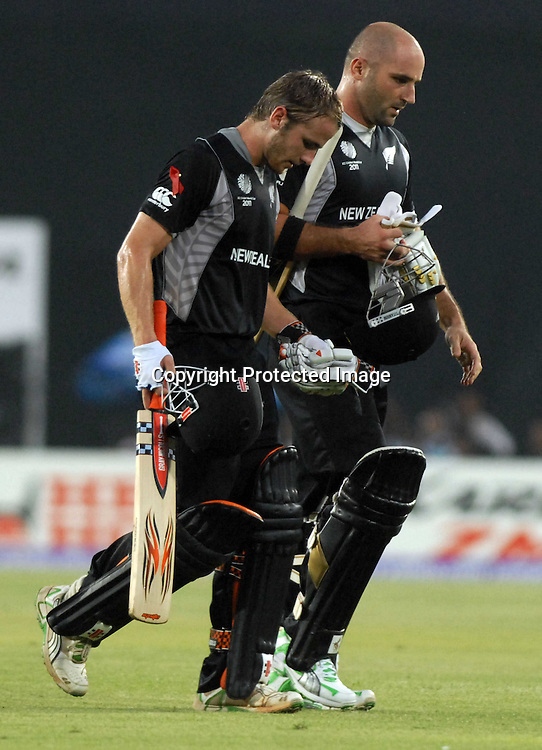 Kane Williamson and Luke Woodcock during the ICC Cricket World Cup quarter final match between South Africa and New Zealand held at the Shere Bangla National Stadium, Mirpur, Bangladesh on the 25 March 2011..Photo by SPORTZPICS