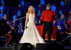© Licensed to London News Pictures. 15/05/2016. Windsor, UK.  KYLIE MINGLE performs during an an evening event held at the Royal Windsor Horse show to celebrate the 90th birthday of HRH Queen Elizabeth II. Acts from arounds the world have been invited to perform at the evening event, set in the grounds of Windsor Castle. Photo credit: Ben Cawthra/LNP